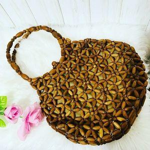Rare Vintage Wooden Bead Handbag